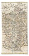 1799 Clement Cruttwell Map Of France In Departments Beach Towel