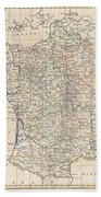 1799 Clement Cruttwell Map Of France In Provinces Beach Towel