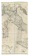1799 Clement Cruttwell Map Of Italy Beach Towel