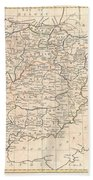 1799 Clement Cruttwell Map Of Spain And Portugal Beach Towel