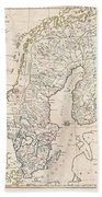 1799 Clement Cruttwell Map Of Sweden Denmark And Norway Beach Towel