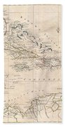 1799 Clement Cruttwell Map Of West Indies Beach Towel