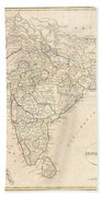1799 Clement Crutwell Map Of Hindoostan Beach Towel