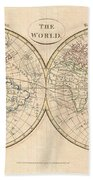 1799 Cruttwell Map Of The World In Hemispheres Beach Towel