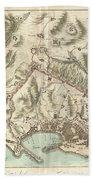 1800 Bardi Map Of Genoa Genova Italy  Beach Towel