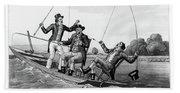 1800s Three 19th Century Men In Boat Beach Sheet
