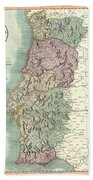 1801 Cary Map Of Portugal Beach Towel
