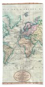 1801 Cary Map Of The World On Mercator Projection Beach Towel