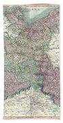 1801 Cary Map Of Upper Saxony Germany  Berlin Dresden Beach Towel