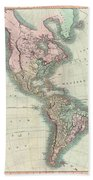 1806 Cary Map Of The Western Hemisphere  North America And South America Beach Towel