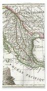1810 Tardieu Map Of Mexico Texas And California Beach Towel