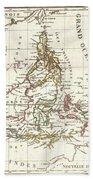 1810 Tardieu Map Of The East Indies Singapore Southeast Asia Sumatra Borneo Java Beach Towel