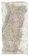 1811 Cary Map Of The Kingdom Of Portugal Beach Towel