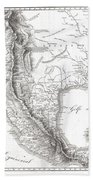 1811 Humboldt Map Of Mexico Texas Louisiana And Florida Beach Towel