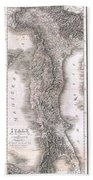 1814 Rizzi Zannoni Map Of Italy Beach Towel