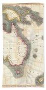 1814 Thomson Map Of Australia New Zealand And New Guinea Beach Towel