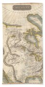 1814 Thomson Map Of North America Beach Towel