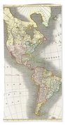 1814 Thomson Map Of North And South America Beach Towel