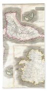 1815 Thomson Map Of Guadaloupe Antigua Marie Galante  West Indies Beach Towel