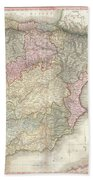 1818 Pinkerton Map Of Spain And Portugal Beach Towel