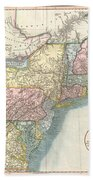 1821 Cary Map Of New England New York Pennsylvania And Virginia Beach Towel