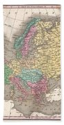 1827 Finley Map Of Europe Beach Towel