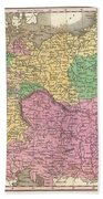 1827 Finley Map Of Germany Beach Towel