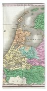 1827 Finley Map Of Holland Or The Netherlands Beach Towel