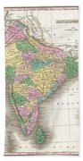1827 Finley Map Of India  Beach Towel
