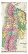 1827 Finley Map Of Israel  Palestine Holy Land Beach Towel