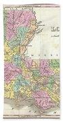 1827 Finley Map Of Louisiana Beach Towel