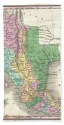 1827 Finley Map Of Mexico Upper California And Texas Beach Towel