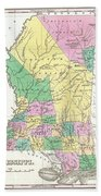 1827 Finley Map Of Mississippi Beach Towel