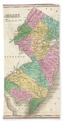 1827 Finley Map Of New Jersey  Beach Towel