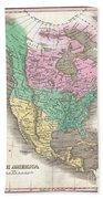1827 Finley Map Of North America Beach Towel