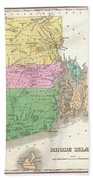 1827 Finley Map Of Rhode Island Beach Towel