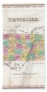 1827 Finley Map Of Tennessee Beach Towel