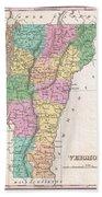 1827 Finley Map Of Vermont Beach Towel