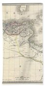 1829 Lapie Historical Map Of The Barbary Coast In Ancient Roman Times Beach Towel