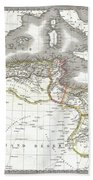 1829 Lapie Map Of The Eastern Mediterranean Morocco And The Barbary Coast Beach Towel