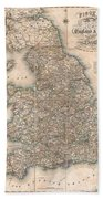 1830 Pigot Pocket Map Of England And Wales Beach Towel