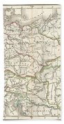 1832 Delamarche Map Of Germany In Roman Times Beach Towel
