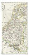 1832 Delamarche Map Of Holland And Belgium Beach Towel