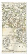 1832 Delamarche Map Of Northern Italy And Corsica Beach Sheet