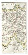1832 Delamarche Map Of Switzerland Beach Towel