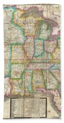 1835 Webster Map Of The United States Beach Towel