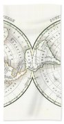 1838 Bradford Map Of The World On Polar Projection Beach Towel
