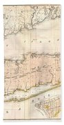 1842 Mather Map Of Long Island New York Beach Towel by Paul Fearn