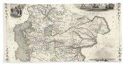 1851 Tallis And Rapkin Map Of Independent Tartary  Beach Towel