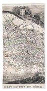 1852 Levasseur Map Of The Department Du Puy De Dome France Beach Sheet